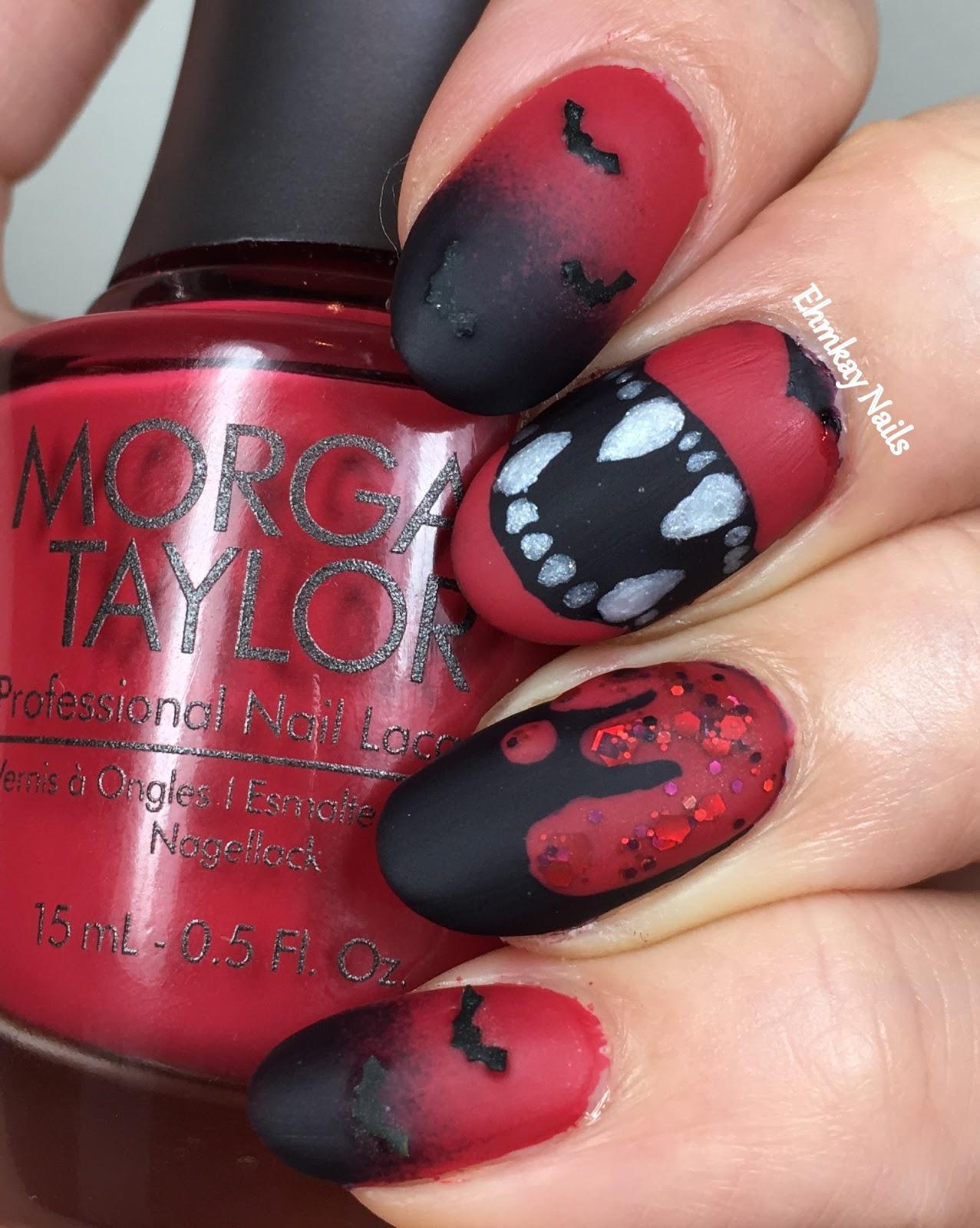 13 Days of Halloween Nail Art: Vampire Nail Art with Morgan Taylor Matadora  Collection - Ehmkay Nails: 13 Days Of Halloween Nail Art: Vampire Nail Art With