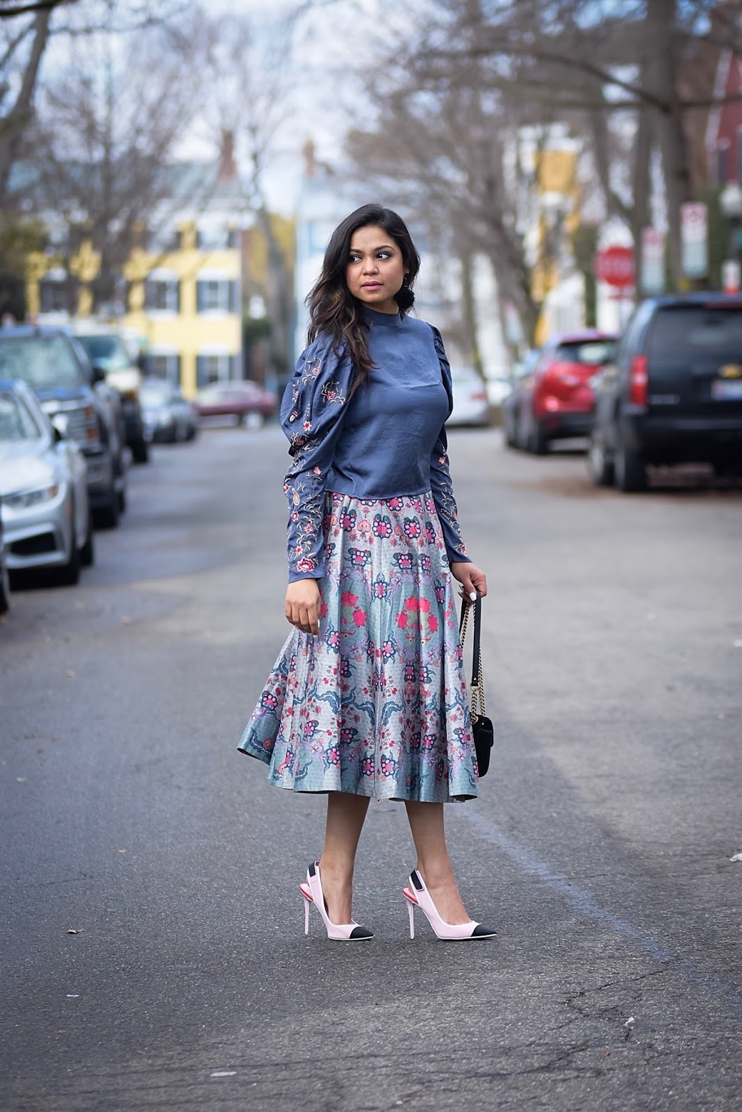 how to wear monochromatic skirt and blouse outfit, grey on grey, fashion, style, printed midi skirt, embroidered ruffle sleeve blouse, ootd, outfit of the day, life after thirty, lifestyle, myriad musings