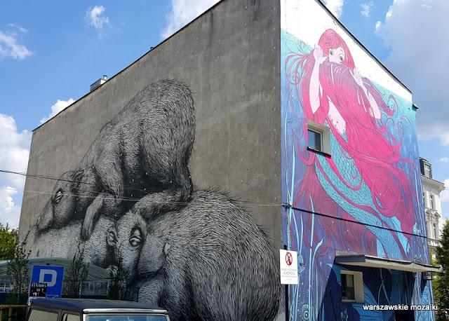 Warszawa Warsaw mural ściana podwórko