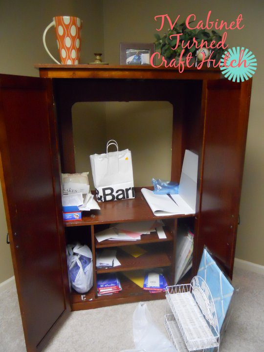 TV Cabinet Turned Craft Hutch Storage Unit Before  After