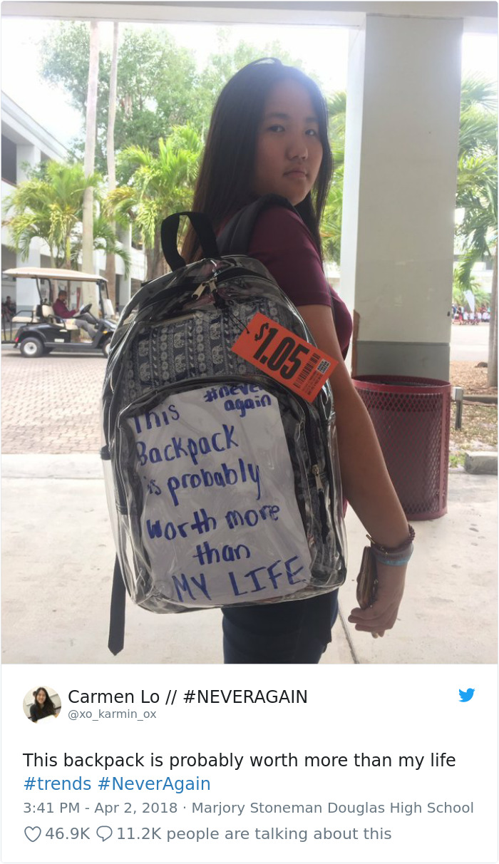 Clear backpacks at Parkland Florida. This backpack is worth more than my life. Carmen Lo. #NeverAgain