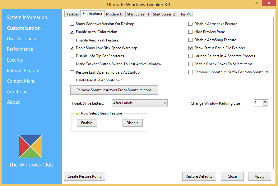 Ultimate Windows Tweaker 3.1 per Windows 8 e 8.1