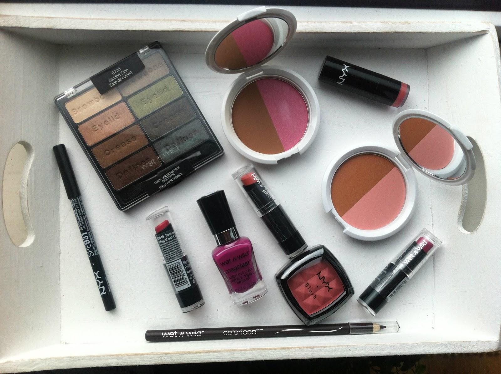 Nyx Wet n Wild haul blush eyeliner lipstick eye shadow
