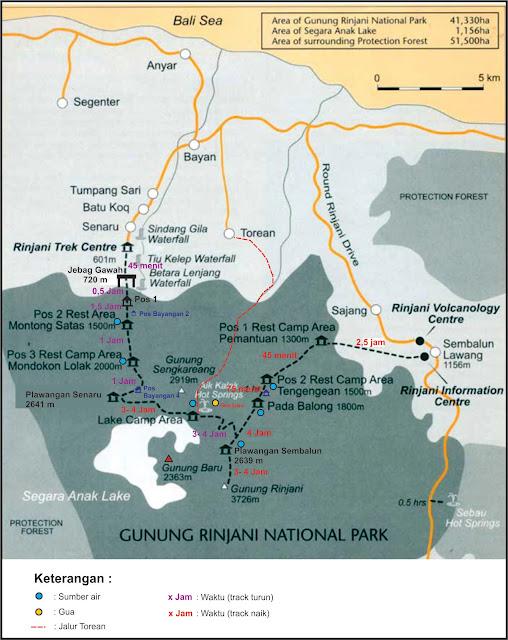 peta pendakian rinjani