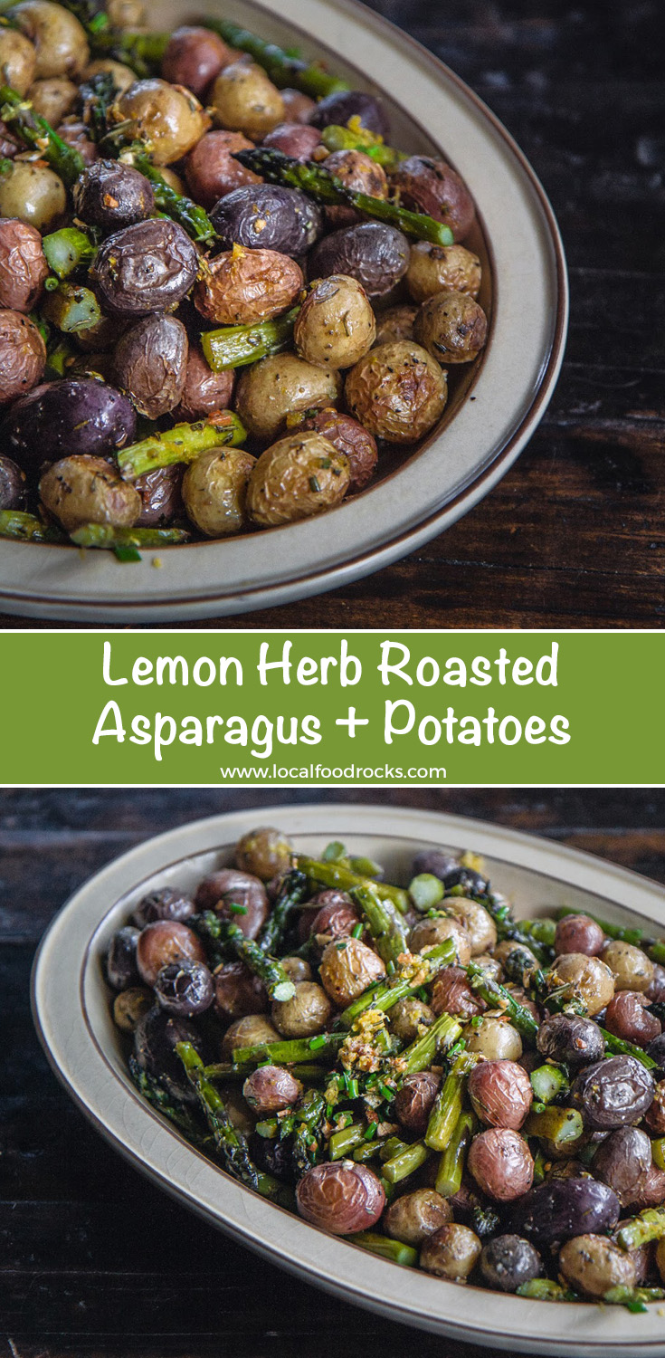 Fresh herbs and lemon zest give this comforting vegan Spring side dish of roasted asparagus and potatoes a burst of flavor. | Local Food Rocks