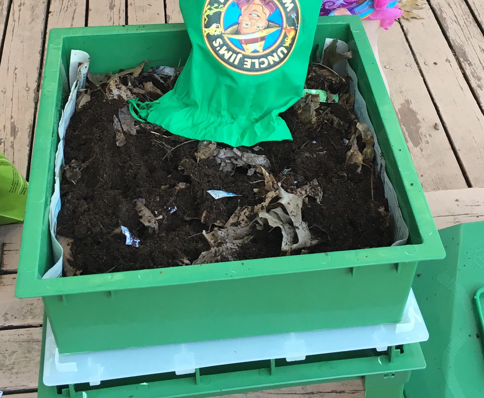We Then Added The Worms Purchased From Uncle Jims And Covered With Newspaper Sprayed Water Put Coconut Mat On Top