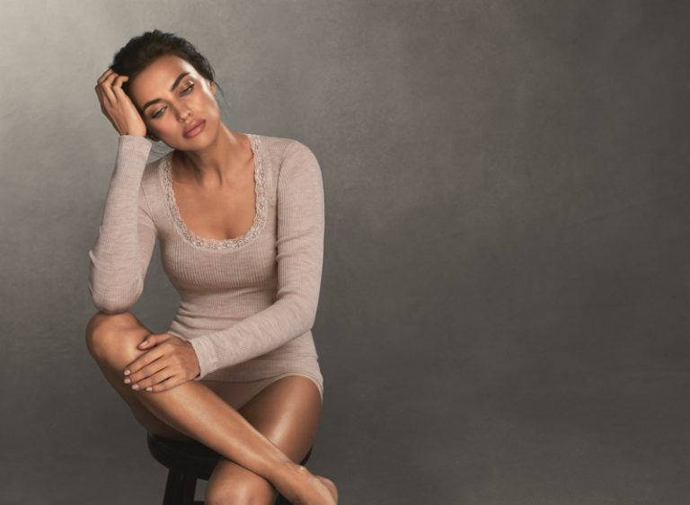 Irina Shayk poses in Intimissimi's new knitwear collection