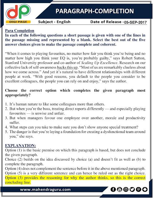 DP   Paragraph-Completion    05 - 09 - 2017
