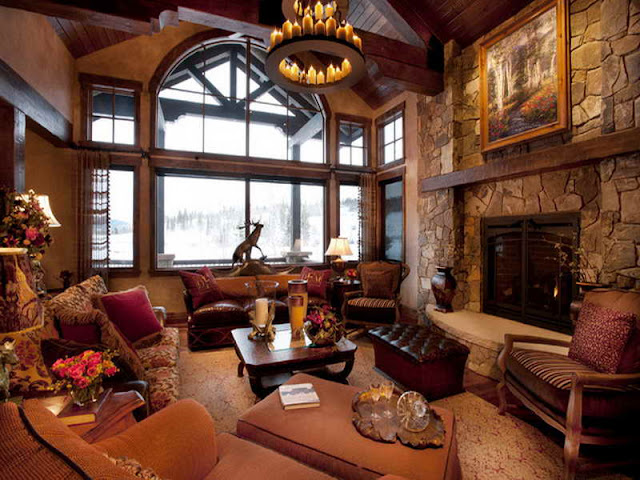 Luxurious Mountain Home with Rustic Interior Luxurious Mountain Home with Rustic Interior 3e083de88df40afcc87160000596aef8