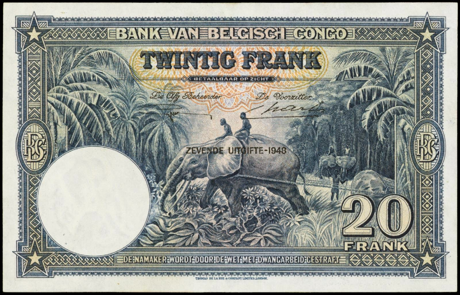 Belgian Congo currency money 20 Francs Working elephant