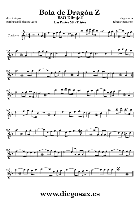 Partitura de Bola de Dragón Z  para Clarinete Canciones Más Tristes BSO  Sheet Music Clarinet Music Score Dragon Ball Z + partituras de dibujos animados pinchando aquí