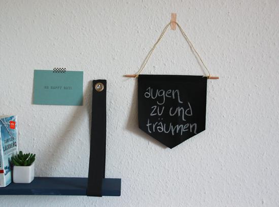 binedoro Blog, DIY, Wimpel, nähen, Typografie, beschriften, Kreide, Dekoration