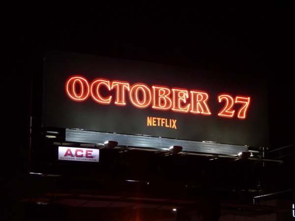 Stranger Things 2 Oct 27 neon sign billboard