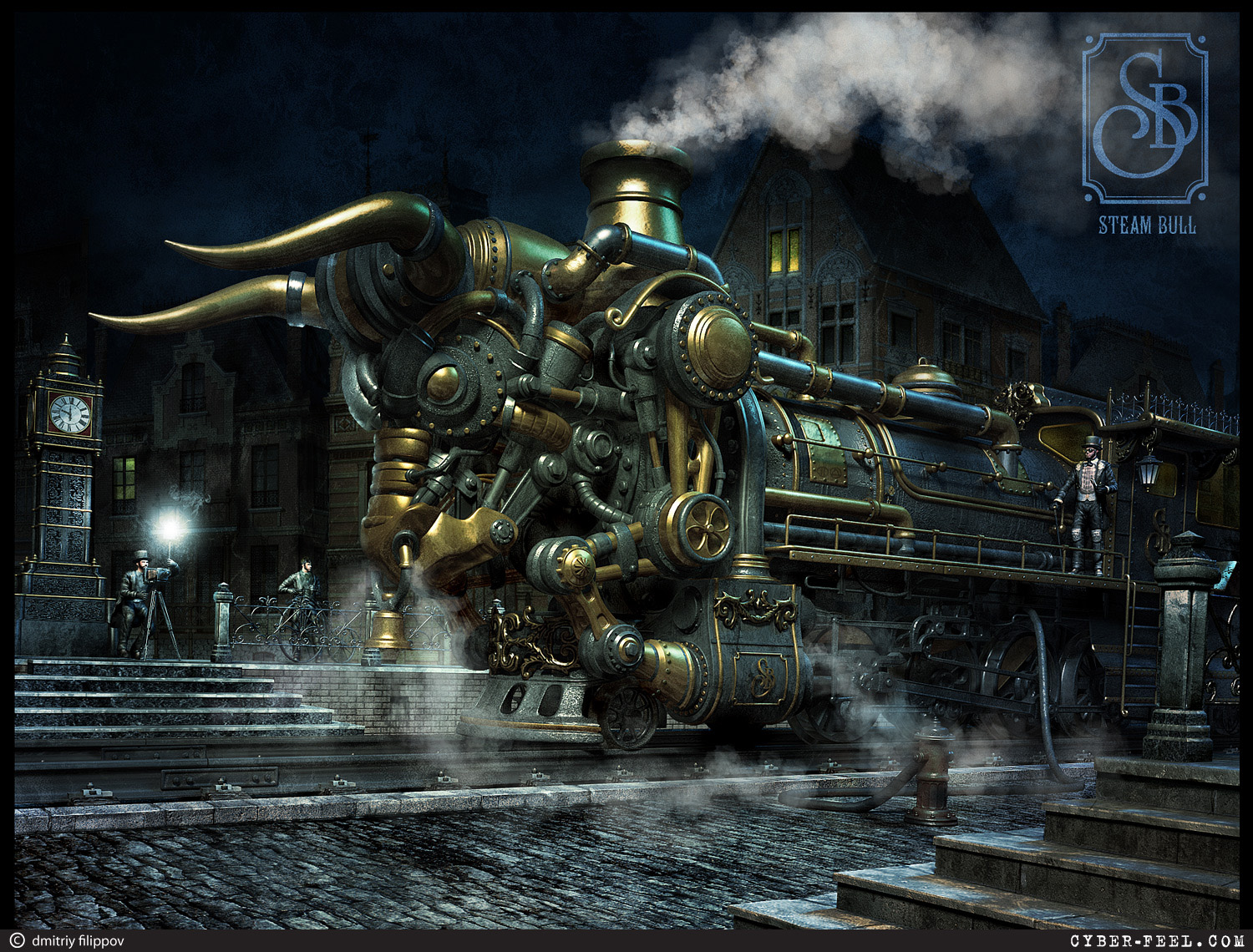 02-Steam-Bull-Taurus-Dmitry-Filippov-Steampunk-Digital-Art-with-the-Zodiac-www-designstack-co