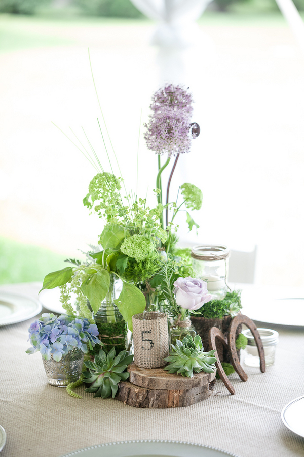 rustic+wedding+shabby+chic+summer+spring+burlap+moss+green+purple+violet+lavender+mint+emerald+outdoor+horse+cowboy+centerpiece+cake+table+dessert+candy+buffet+1326+studios+17 - Rustic Springtime