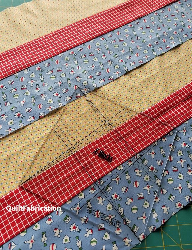 X-block fabric strips plus ruler