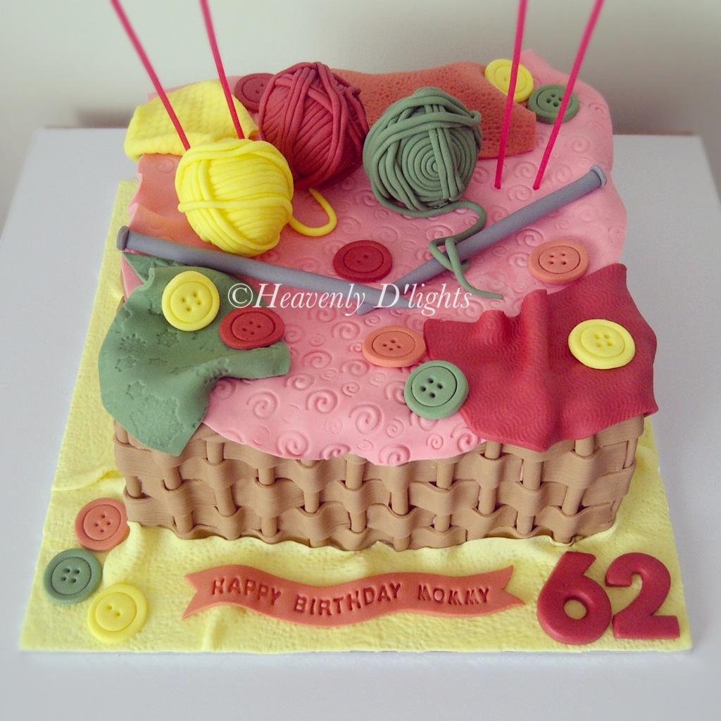 Heavenly Dlights Knitting Theme Birthday Cake