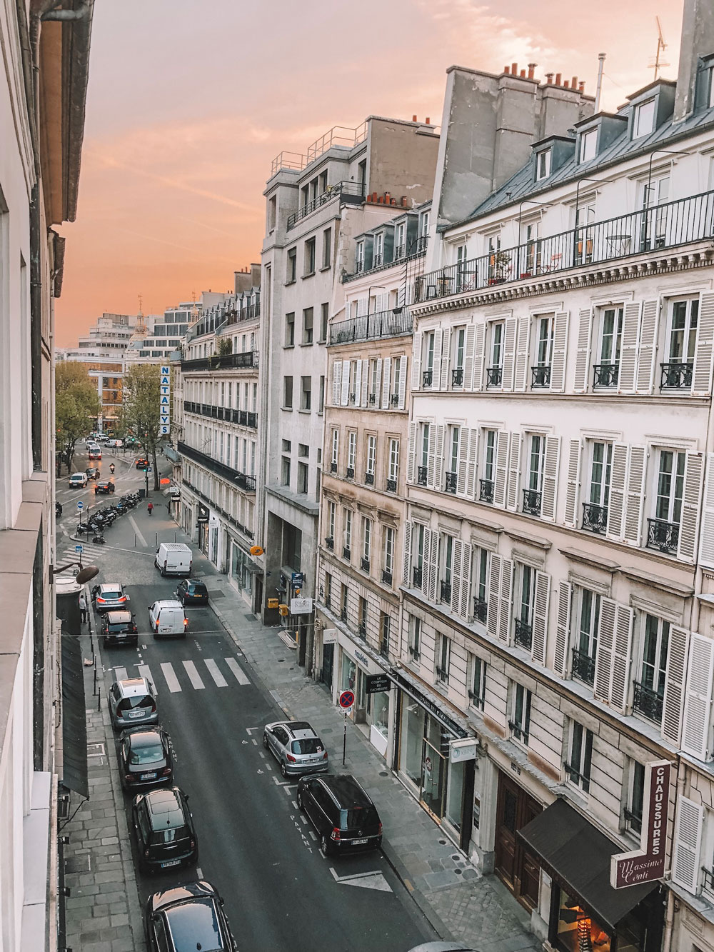 Parisian sunrise view from Hotel Chavanel