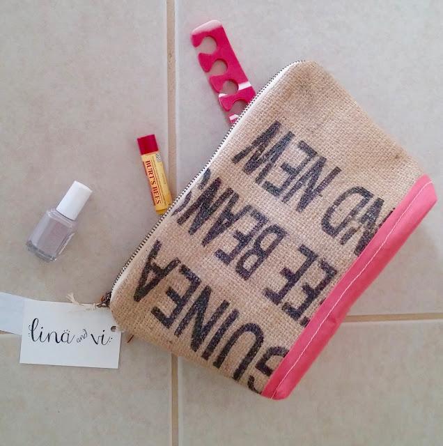 Custom Coral Burlap Cosmetic Bags - www.linaandvi.etsy.com - Plymouth Michigan