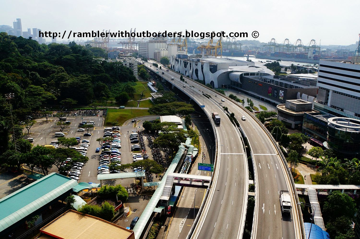 Aerial view of West Coast Highway from Singapore Cable ride, Singapore