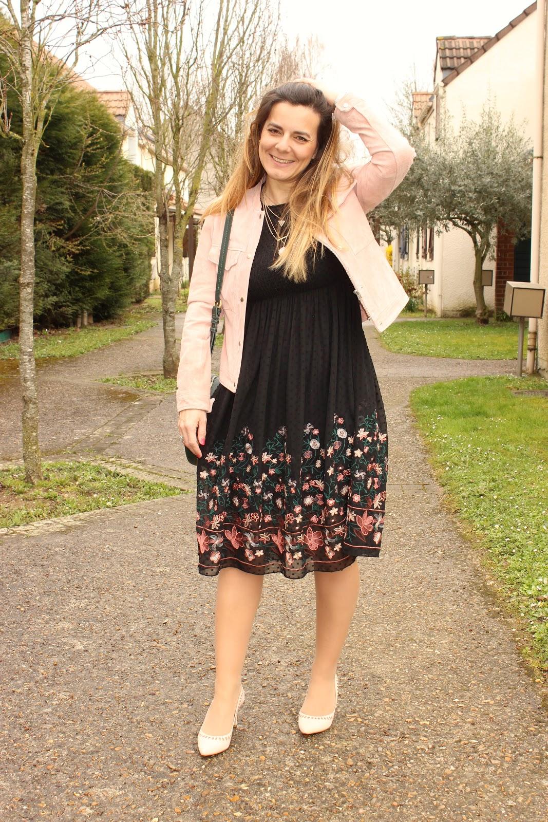 look de pâques, robe zara, veste rose, sac rond vert les petites bulles de ma vie
