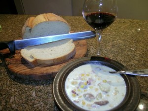 Smokey Corn Chowder Soup With Fresh Bread