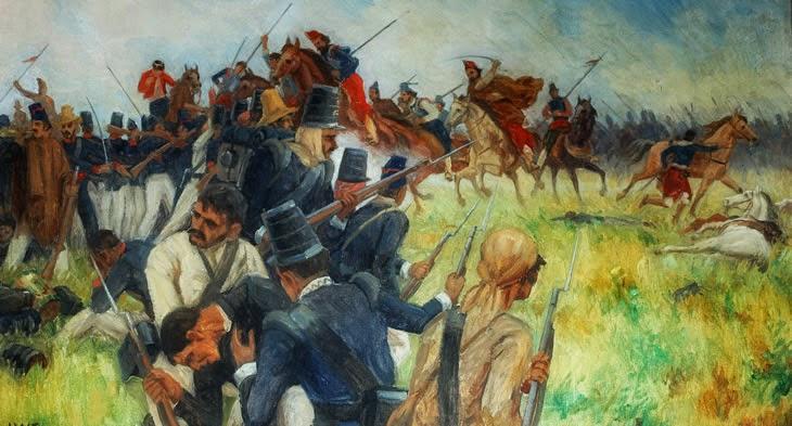 """""""A Batalha do Passo do Rosário"""", na Guerra da Cisplatina. Obra de José Washt Rodrigues."""