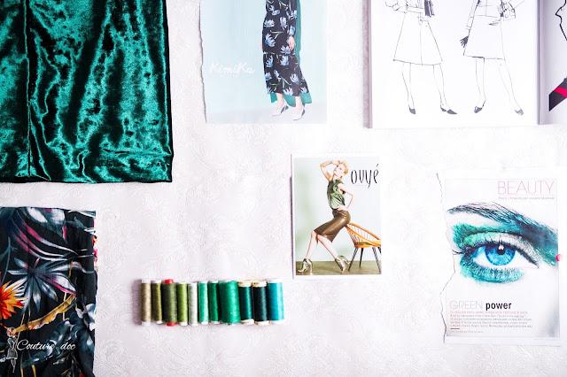 tkaniny, nici, zieleń, wycinki z gazet