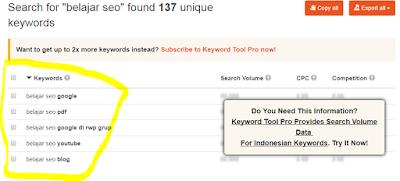 Hasil riset keyword menggunakan keyword tool