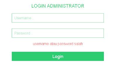 pesan kesalahan saat login