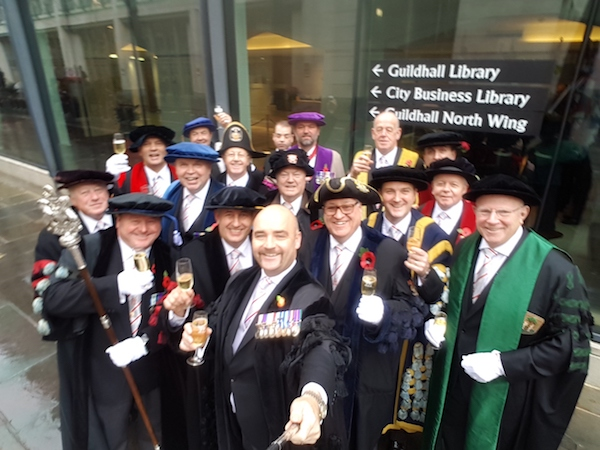 A group of Livery Company Beadles in their ceremonial uniforms during the annual Lord Mayor's Show in London