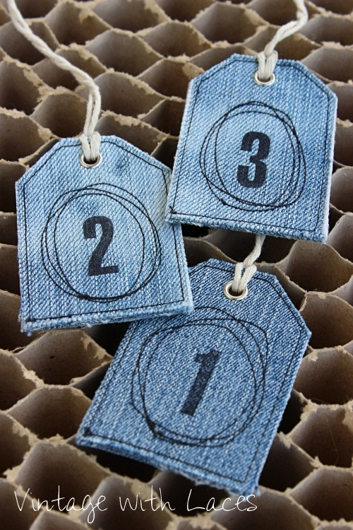 Upcycled Denim Tags by Vintage with Laces
