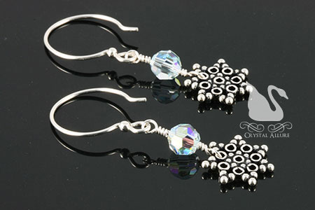 Blue Crystal Suzie Snowflake Beaded Earrings (E215)