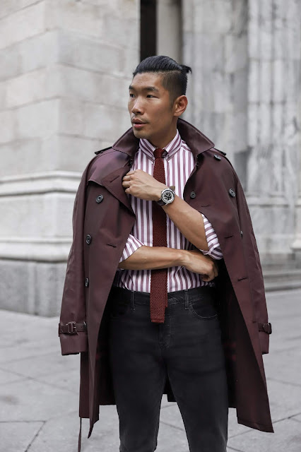 Leo Chan wearing Burgundy Burburry Trenchcoat for Fall, Eton Shirt | Asian Male Model and Blogger