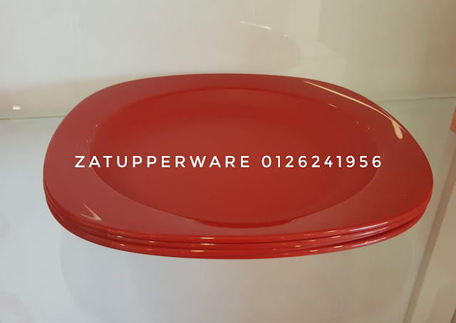 Tupperware Royal Red Dining Plates (4) 390ml  - Microwaveable