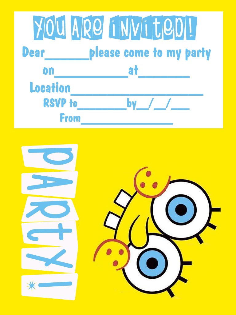 SPONGEBOB SQUAREPANTS FREE PRINTABLE INVITATIONS Spongebob Birthday Invitations Templates