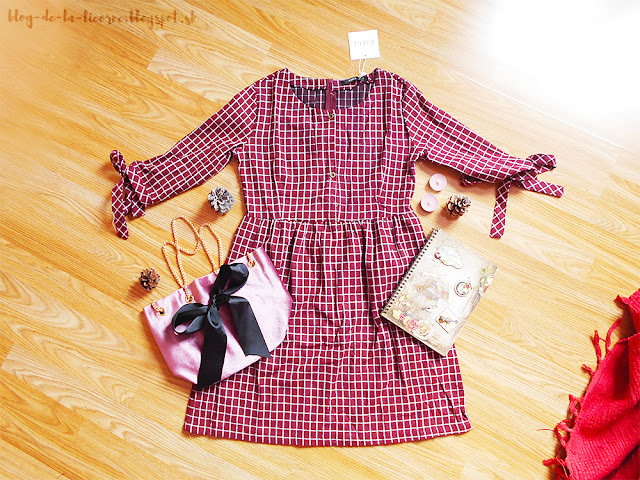 Half Button Mini Checked Dress