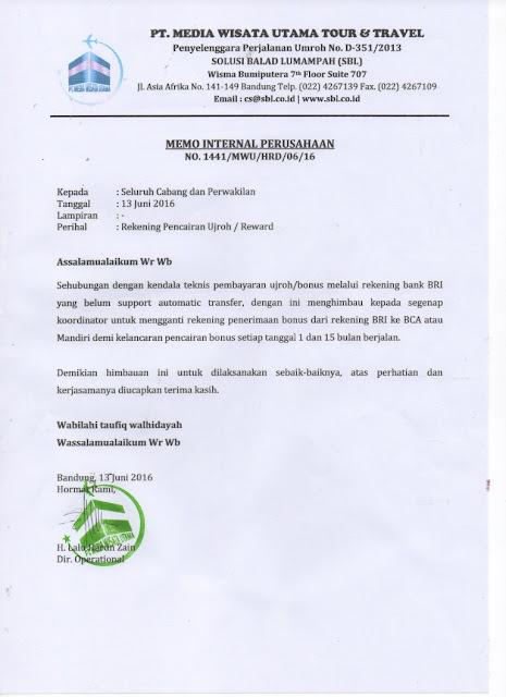 Himbauan : Penggantian Rekening Ujroh (Reward)