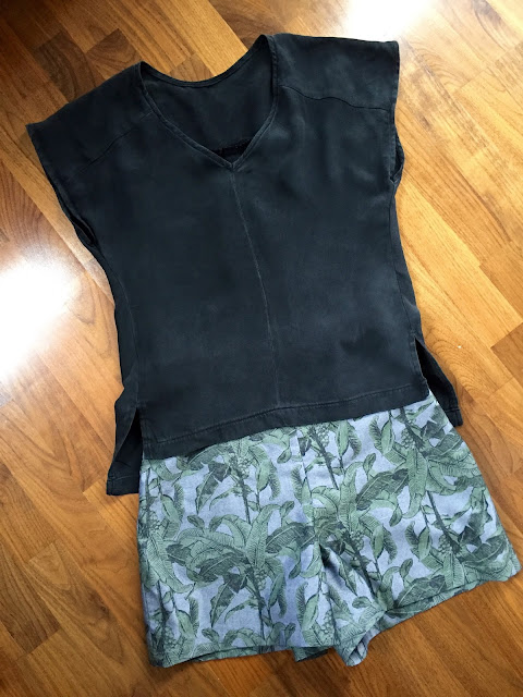 Diary of a Chain Stitcher: Black Silk Sutton Blouse & Tropical Holly Shorts