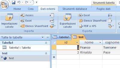 tabella mysql da access