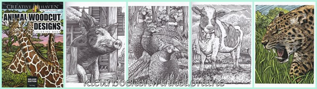 kleurboek animal woodcut designs