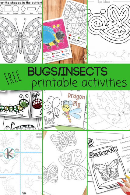 28 FREE Insect Worksheets for kids - so many free printable bug printalbes to help kids practice, shapes, numbers, math, reading, sight words, and more! Perfect for preschool, kindergarten, first grade, and 2nd grade students #insect #bugs #worksheets