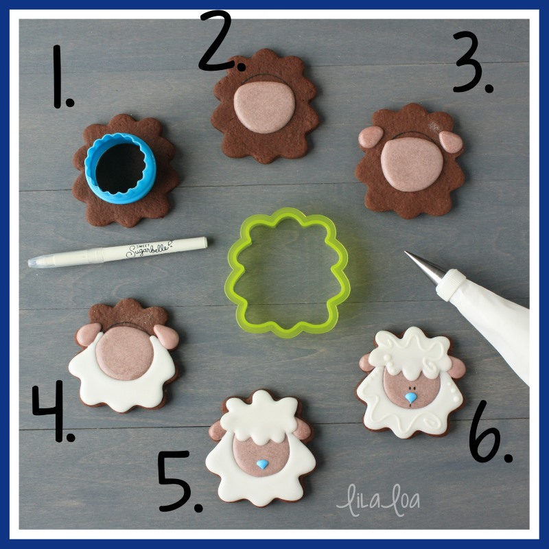 step by step lamb or sheep chocolate sugar cookie decorating tutorial