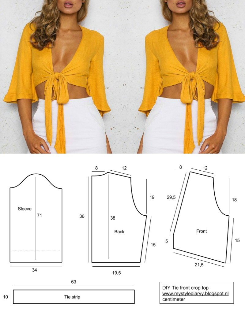 tie front crop top pattern