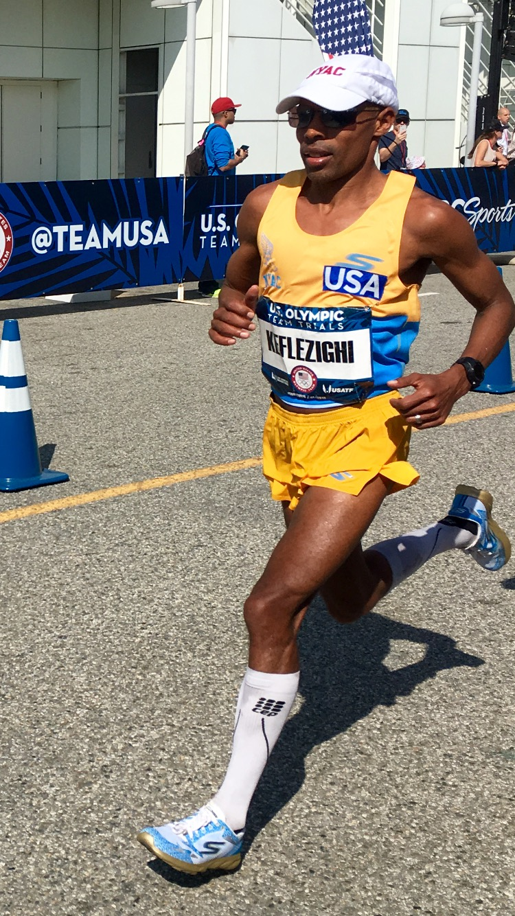 Meb on the way to a magnificent 2nd in the Olympic Trials in his custom GoMeb Speed 3 2016. Photo Credit: Skechers Performance