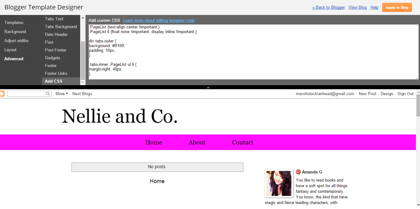 Nellie and Co : How To Customise Simple Blogger Page Tabs