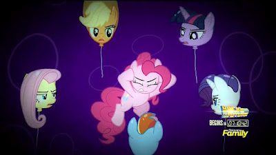 Pinkie's friends (as balloons) harangue her