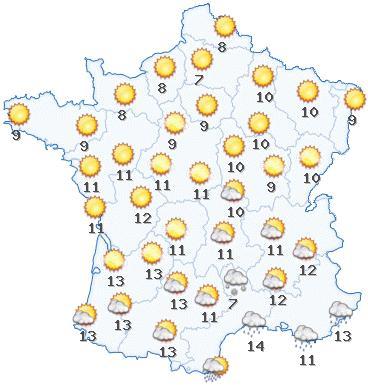 Carte L'ensoleillement France   Carte de L'ensoleillement en France