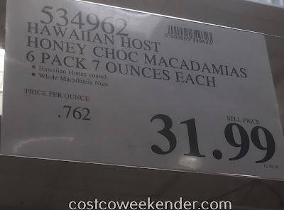 Deal for a 6 pack of Hawaiian Host Honey Coated Chocolate Macadamia Nuts at Costco
