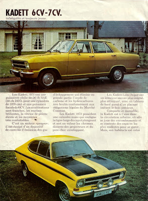Sales brochure page for Opel Kadett B series